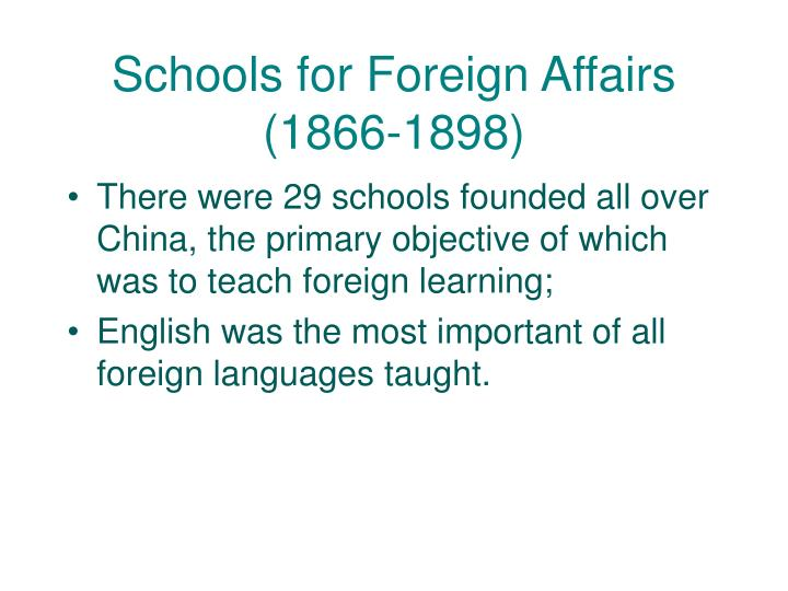 Schools for Foreign Affairs