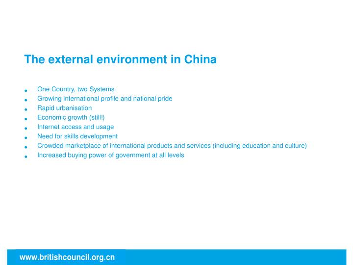 The external environment in China