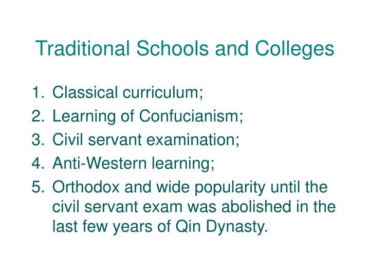 Traditional Schools and Colleges