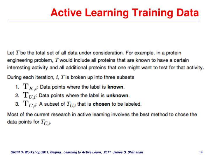 Active Learning Training Data