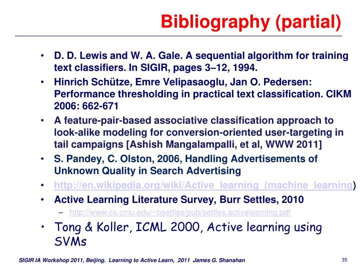 Bibliography (partial)
