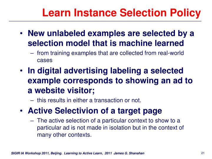 Learn Instance Selection Policy