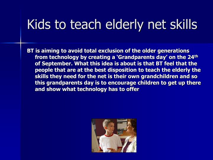 Kids to teach elderly net skills