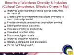 benefits of workforce diversity inclusion cultural competence effective diversity mgt
