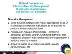 cultural competence effective diversity management mission accomplishment the connection benefits
