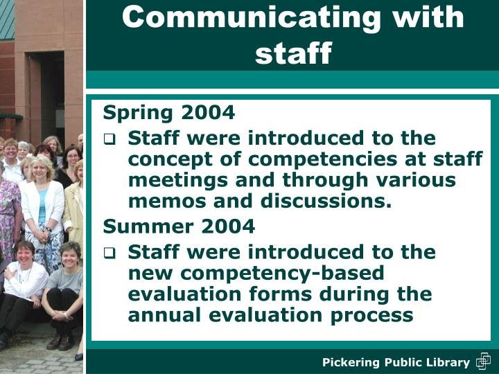 Communicating with staff