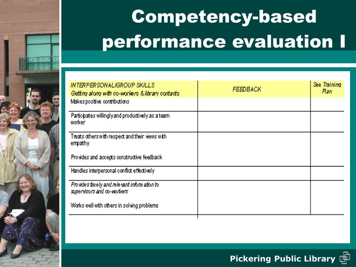 Competency-based performance evaluation I