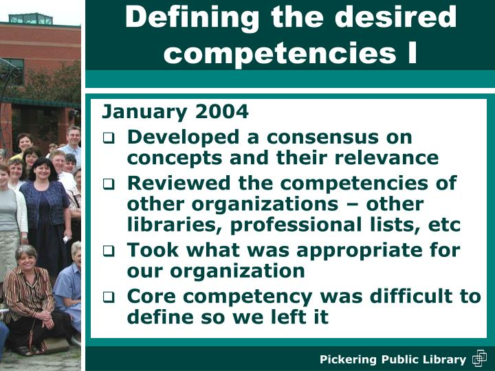Defining the desired competencies I