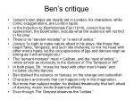 ben s critique