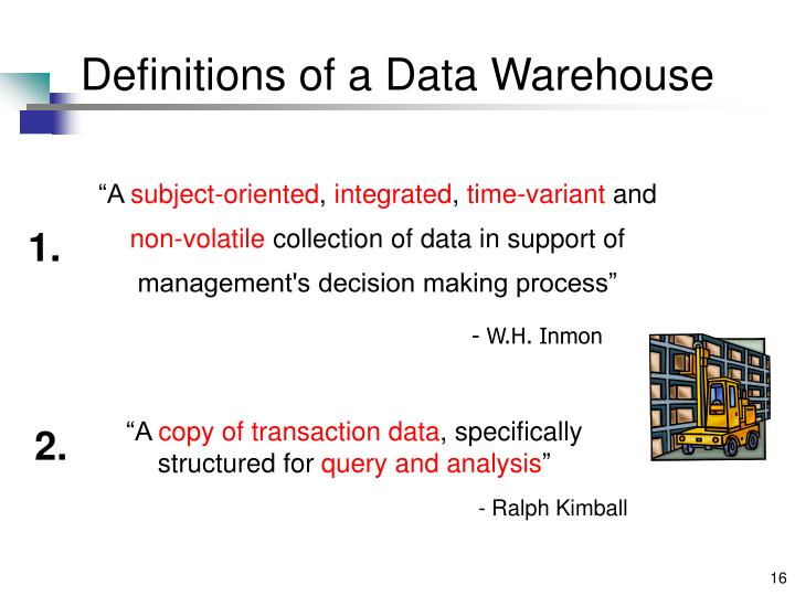 Definitions of a Data Warehouse