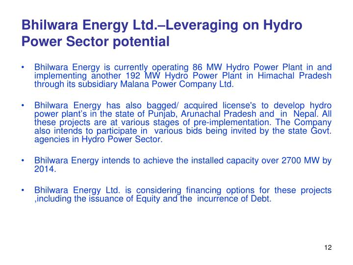 Bhilwara Energy Ltd.–Leveraging on Hydro Power Sector potential