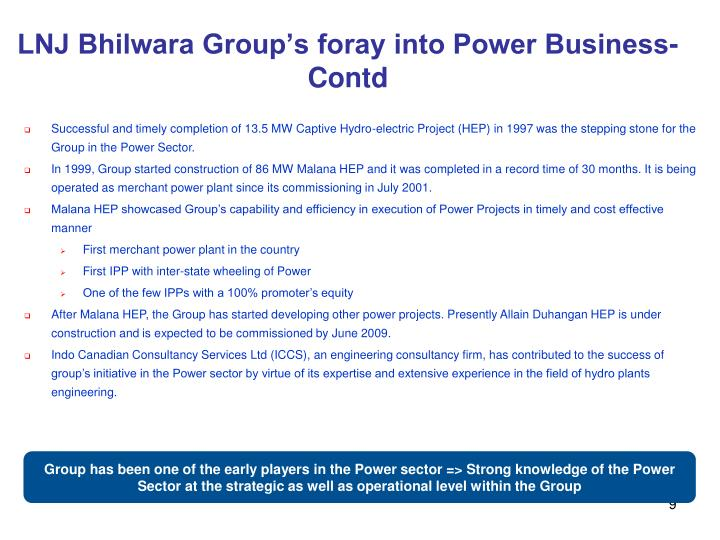 LNJ Bhilwara Group's foray into Power Business-Contd