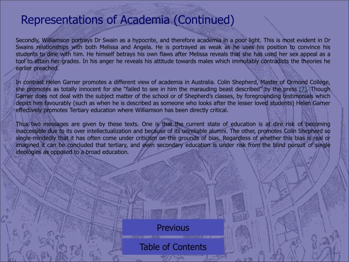 Representations of Academia (Continued)