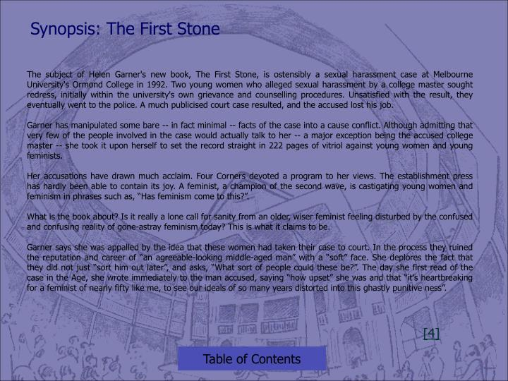Synopsis: The First Stone