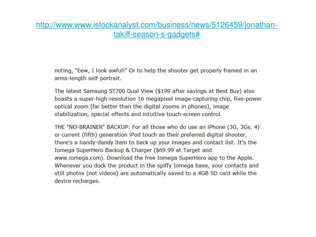 http www www istockanalyst com business news 5126459 jonathan takiff season s gadgets