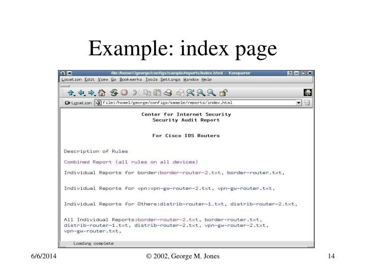 Example: index page