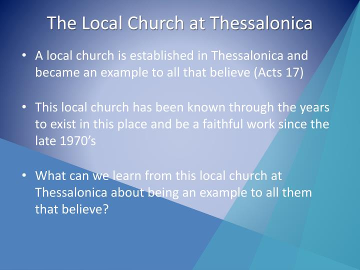 The local church at thessalonica