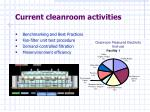 current cleanroom activities