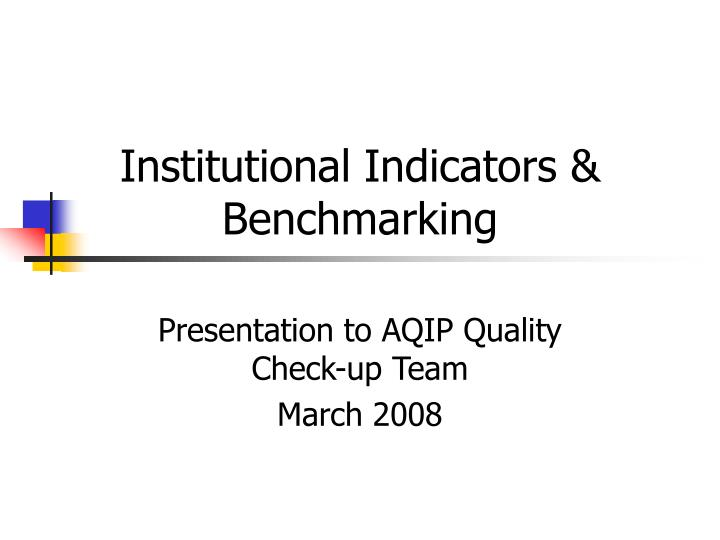institutional indicators benchmarking n.