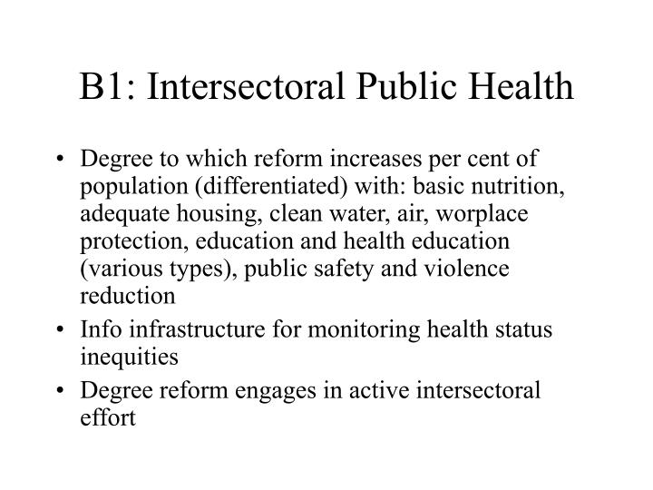 B1: Intersectoral Public Health