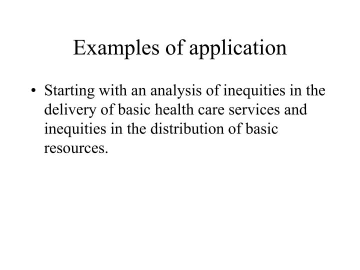 Examples of application