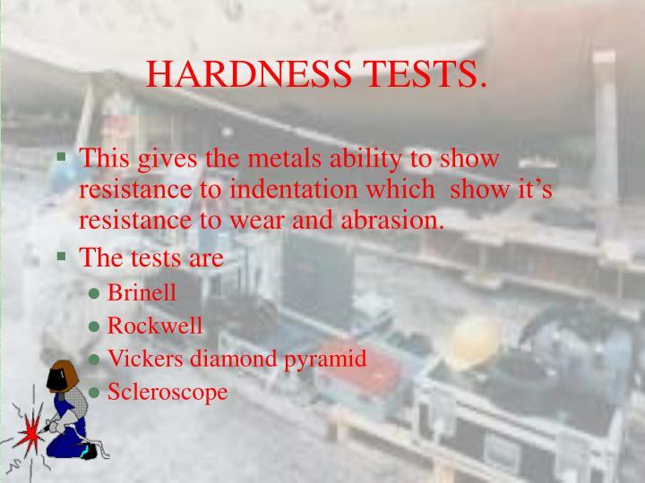 HARDNESS TESTS.
