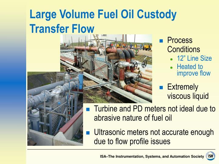 Large Volume Fuel Oil Custody Transfer Flow