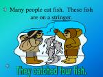 many people eat fish these fish are on a stringer