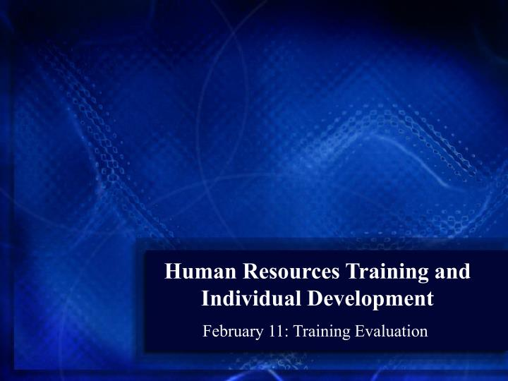human resources training and individual development n.