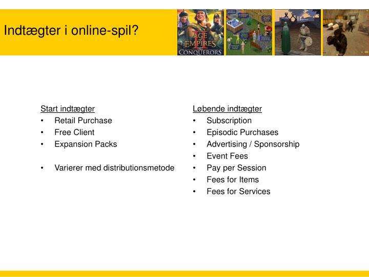 Indtægter i online-spil?