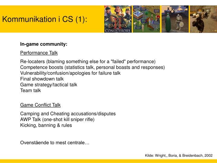 Kommunikation i CS (1):