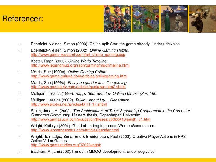 Egenfeldt-Nielsen, Simon (2003). Online-spil: Start the game already. Under udgivelse
