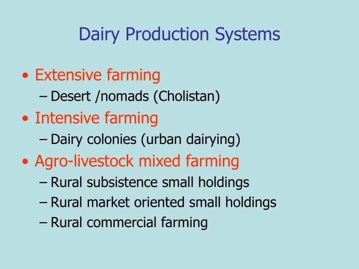 Dairy Production Systems