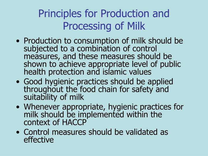 Principles for Production and Processing of Milk