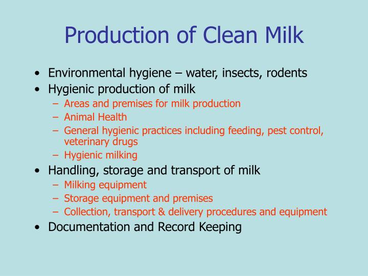 Production of Clean Milk