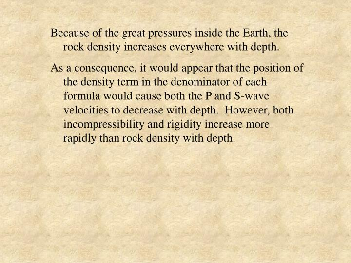 Because of the great pressures inside the Earth, the rock density increases everywhere with depth.