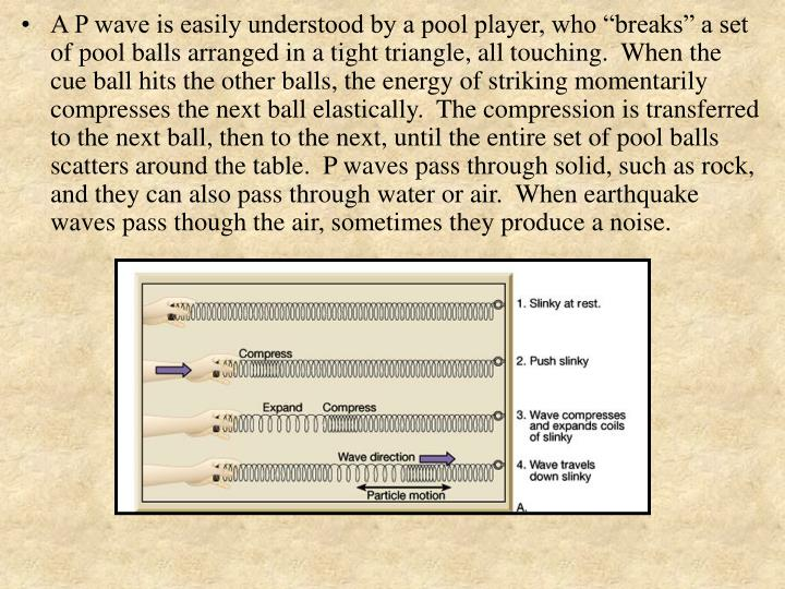 """A P wave is easily understood by a pool player, who """"breaks"""" a set of pool balls arranged in a tight triangle, all touching.  When the cue ball hits the other balls, the energy of striking momentarily compresses the next ball elastically.  The compression is transferred to the next ball, then to the next, until the entire set of pool balls scatters around the table.  P waves pass through solid, such as rock, and they can also pass through water or air.  When earthquake waves pass though the air, sometimes they produce a noise."""