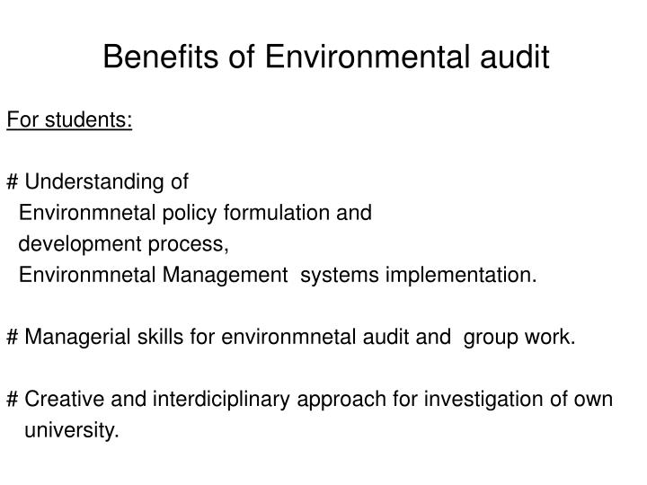 Benefits of Environmental audit