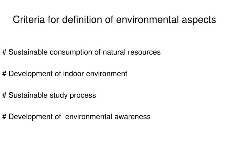 Criteria for definition of environmental aspects