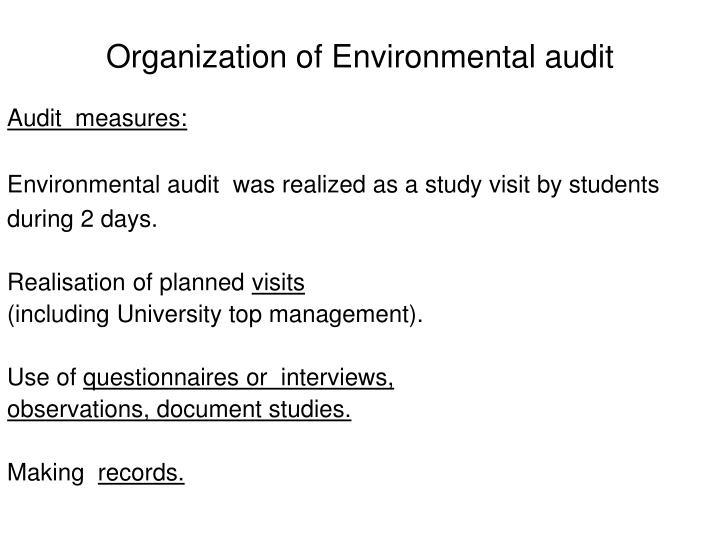 Organization of Environmental audit