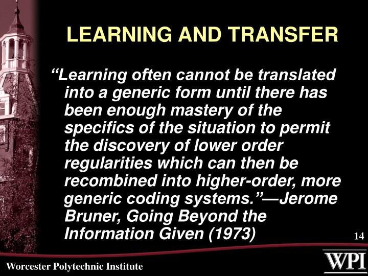LEARNING AND TRANSFER