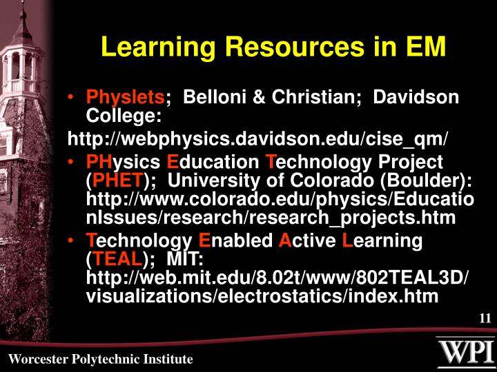 Learning Resources in EM