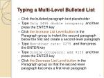 typing a multi level bulleted list