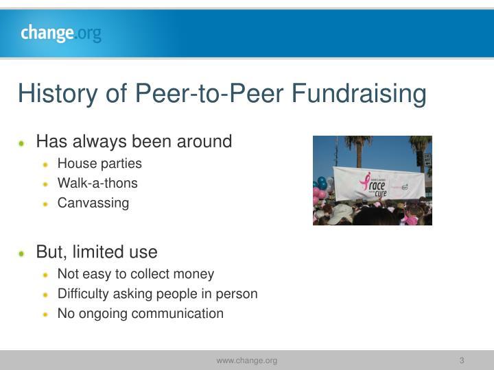 History of peer to peer fundraising