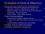 evaluation of goals objectives