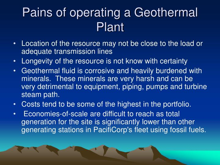 Pains of operating a Geothermal Plant