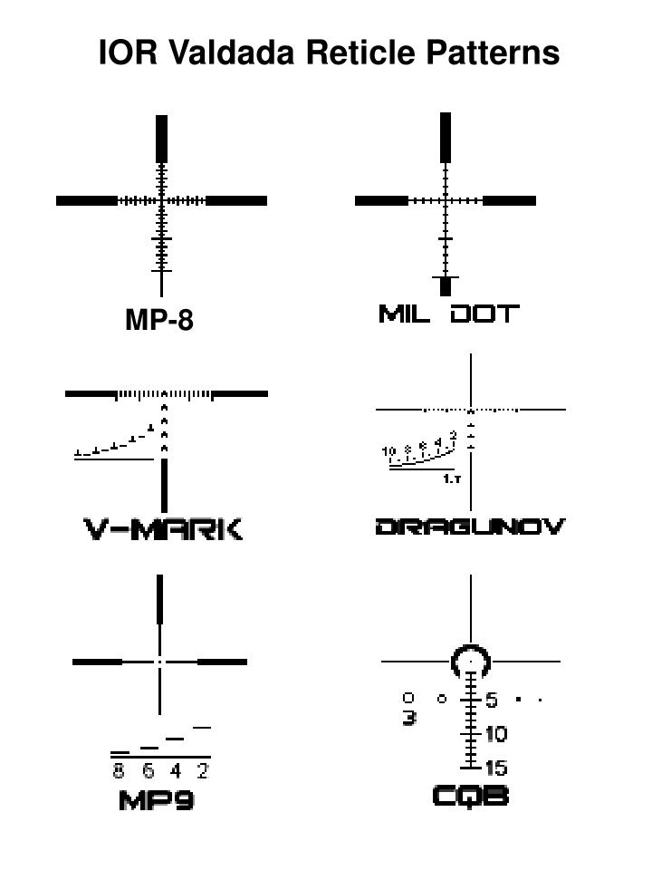 IOR Valdada Reticle Patterns