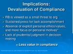 implications devaluation of compliance