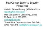 mail center safety security resources