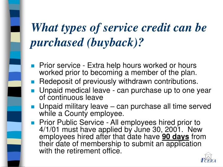 What types of service credit can be purchased (buyback)?